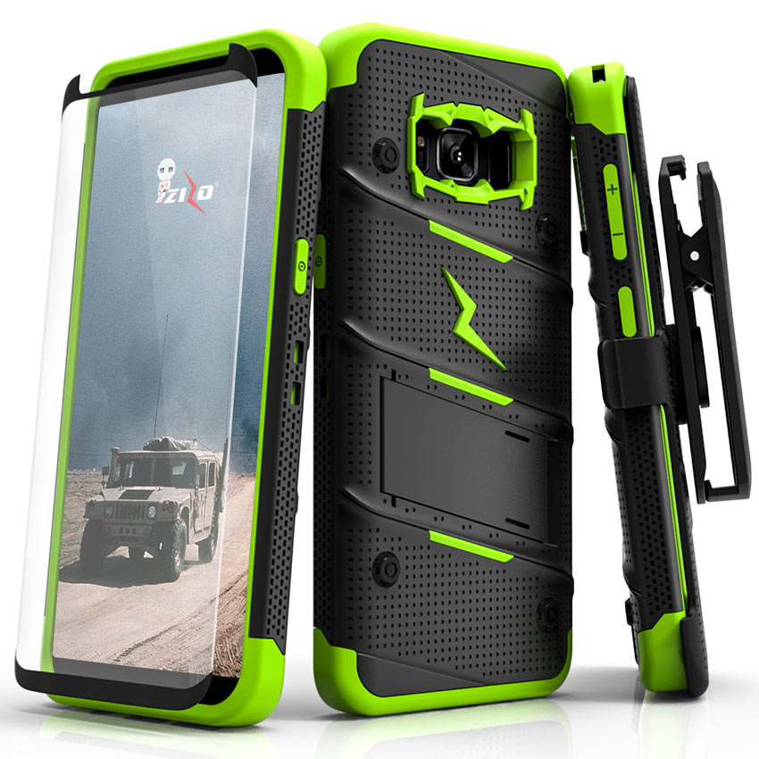 Samsung Galaxy S8 Plus [BOLT] Case - Heavy Duty Cover w/ Kickstand, Holster, Tempered Glass Screen Protector & Lanyard [Black/ Neon Green]