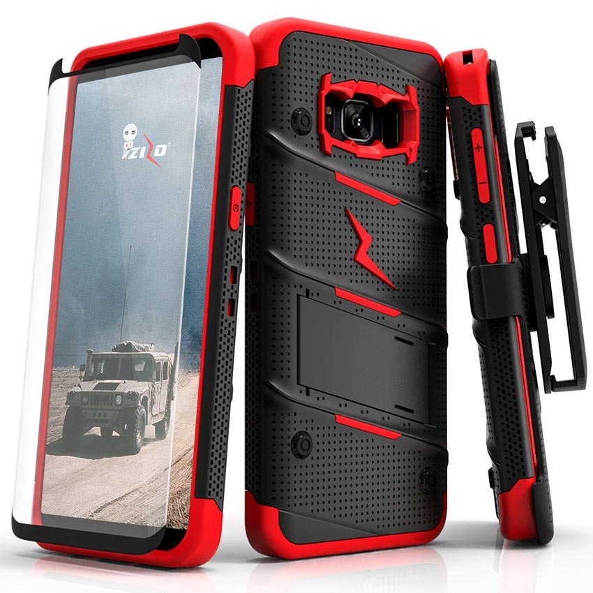 Made for [Samsung Galaxy S8 Plus]-Bolt Series:   Heavy Duty Cover w/ Kickstand Holster Tempered Glass Screen Protector & Lanyard [Black/ Red]
