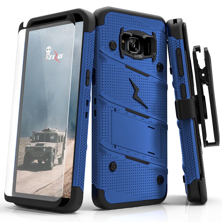 Made for [Samsung Galaxy S8 Plus]-Bolt Series:   Heavy Duty Cover w/ Kickstand Holster Tempered Glass Screen Protector & Lanyard [Blue/ Black]
