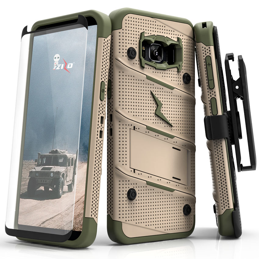 Made for [Samsung Galaxy S8 Plus]-Bolt Series:   Heavy Duty Cover w/ Kickstand Holster Tempered Glass Screen Protector & Lanyard [Desert Tan/ Camo Green]