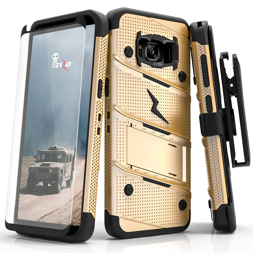 Made for [Samsung Galaxy S8 Plus]-Bolt Series:   Heavy Duty Cover w/ Kickstand Holster Tempered Glass Screen Protector & Lanyard [Gold/ Black]