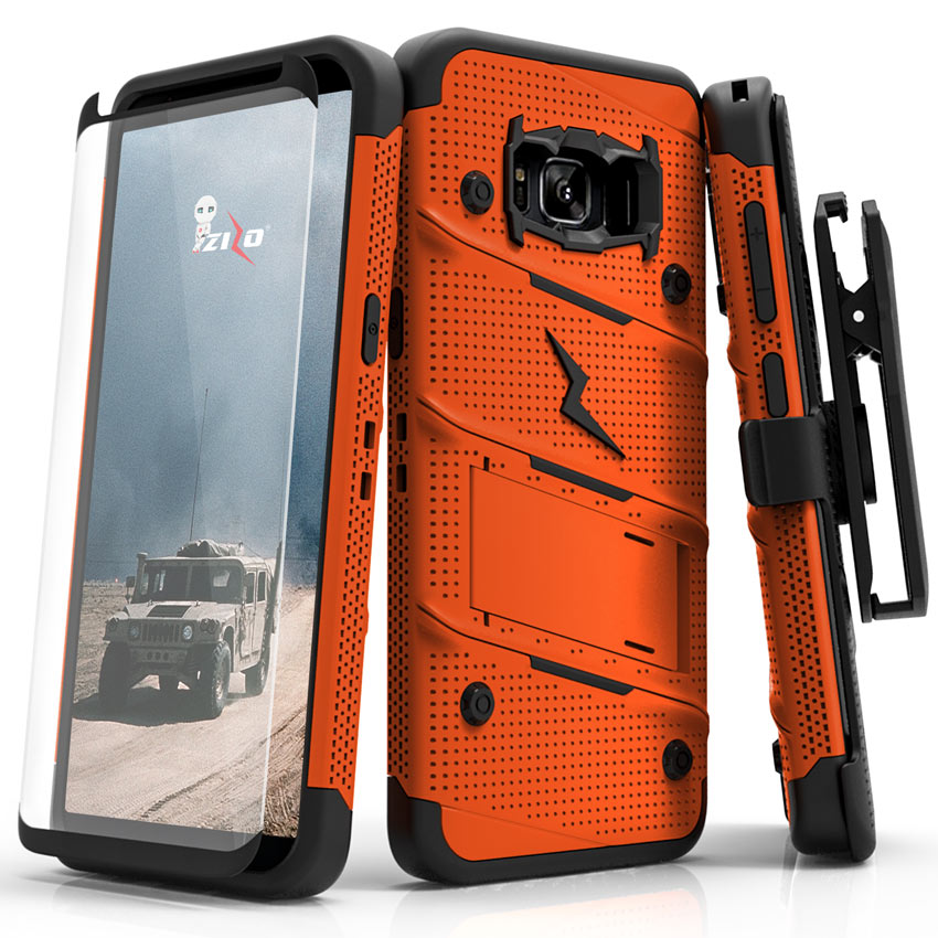 Made for [Samsung Galaxy S8 Plus]-Bolt Series:   Heavy Duty Cover w/ Kickstand Holster Tempered Glass Screen Protector & Lanyard [Orange/ Black]
