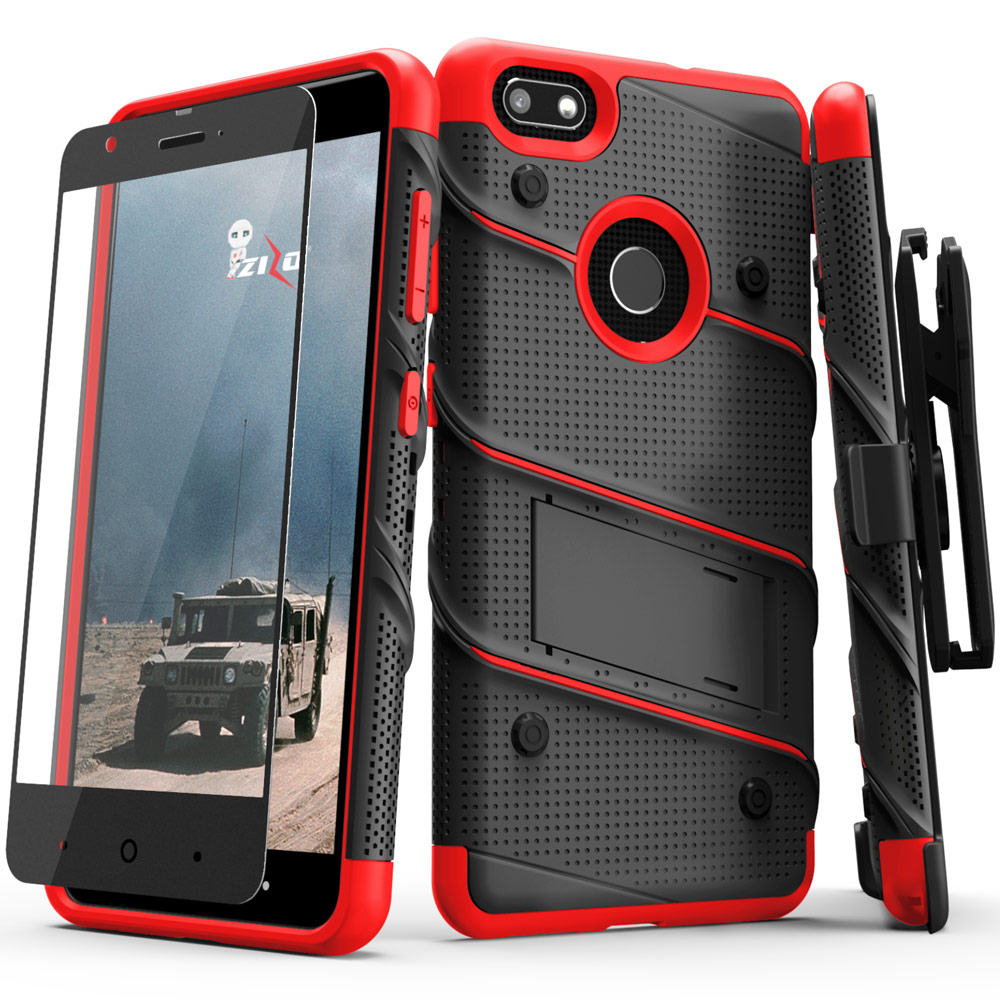 Made for [ZTE Blade X]-Bolt Series: Heavy Duty Cover w/ Kickstand Holster Tempered Glass Screen Protector & Lanyard [Black/ Red]