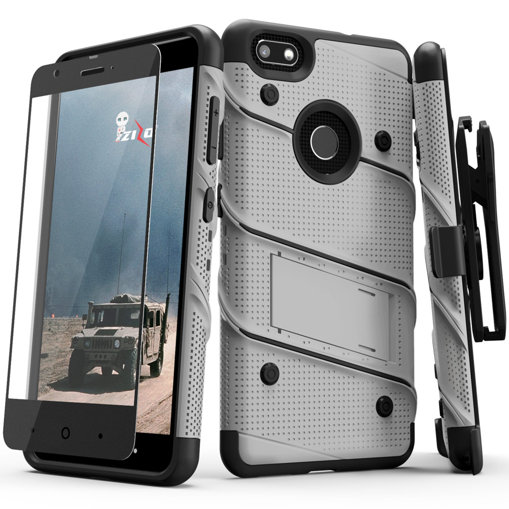 Made for [ZTE Blade X]-Bolt Series: Heavy Duty Cover w/ Kickstand Holster Tempered Glass Screen Protector & Lanyard [Gray/ Black]