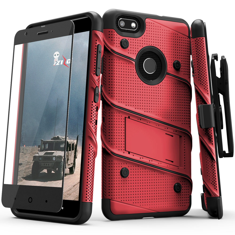 Made for [ZTE Blade X]-Bolt Series: Heavy Duty Cover w/ Kickstand Holster Tempered Glass Screen Protector & Lanyard [Red/ Black]
