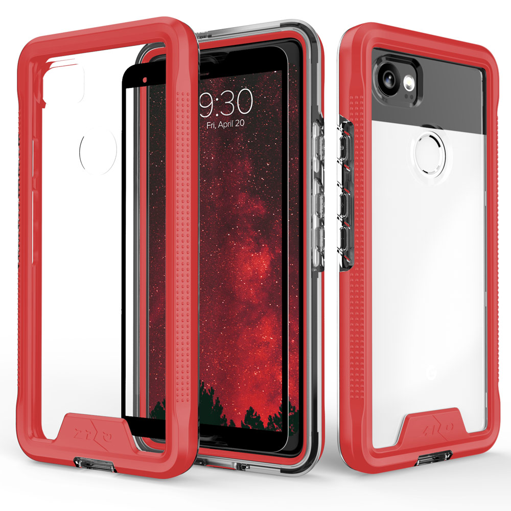 Made for [Google Pixel XL 2]-Ion Series: Triple Layered Shockproof Protection TPU & PC Hybrid Cover w/ Tempered Glass [Red/ Clear]