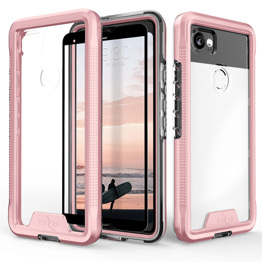 Made for [Google Pixel XL 2]-Ion Series: Triple Layered Shockproof Protection TPU & PC Hybrid Cover w/ Tempered Glass [Rose Gold/ Clear]