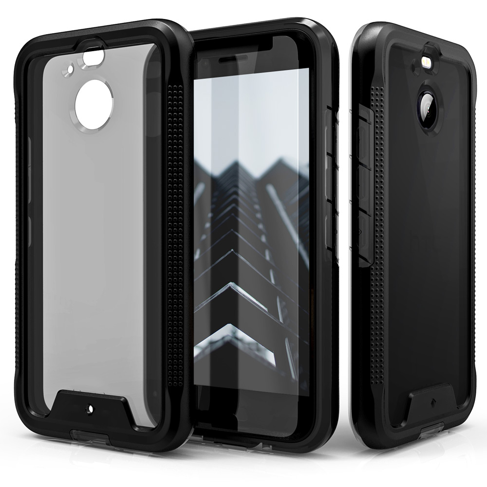 HTC Bolt Case, ION Triple Layered Shockproof Protection TPU & PC Hybrid Cover w/ Tempered Glass [Black/ Smoke]