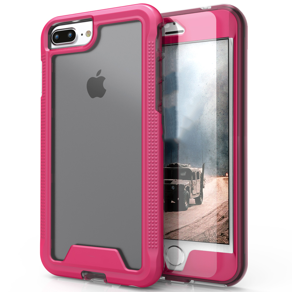 Apple iPhone 8/7/6S/6 Plus Case, ION Single Layered Shockproof Protection TPU & PC Hybrid Cover w/ Tempered Glass [Hot Pink/ Clear]