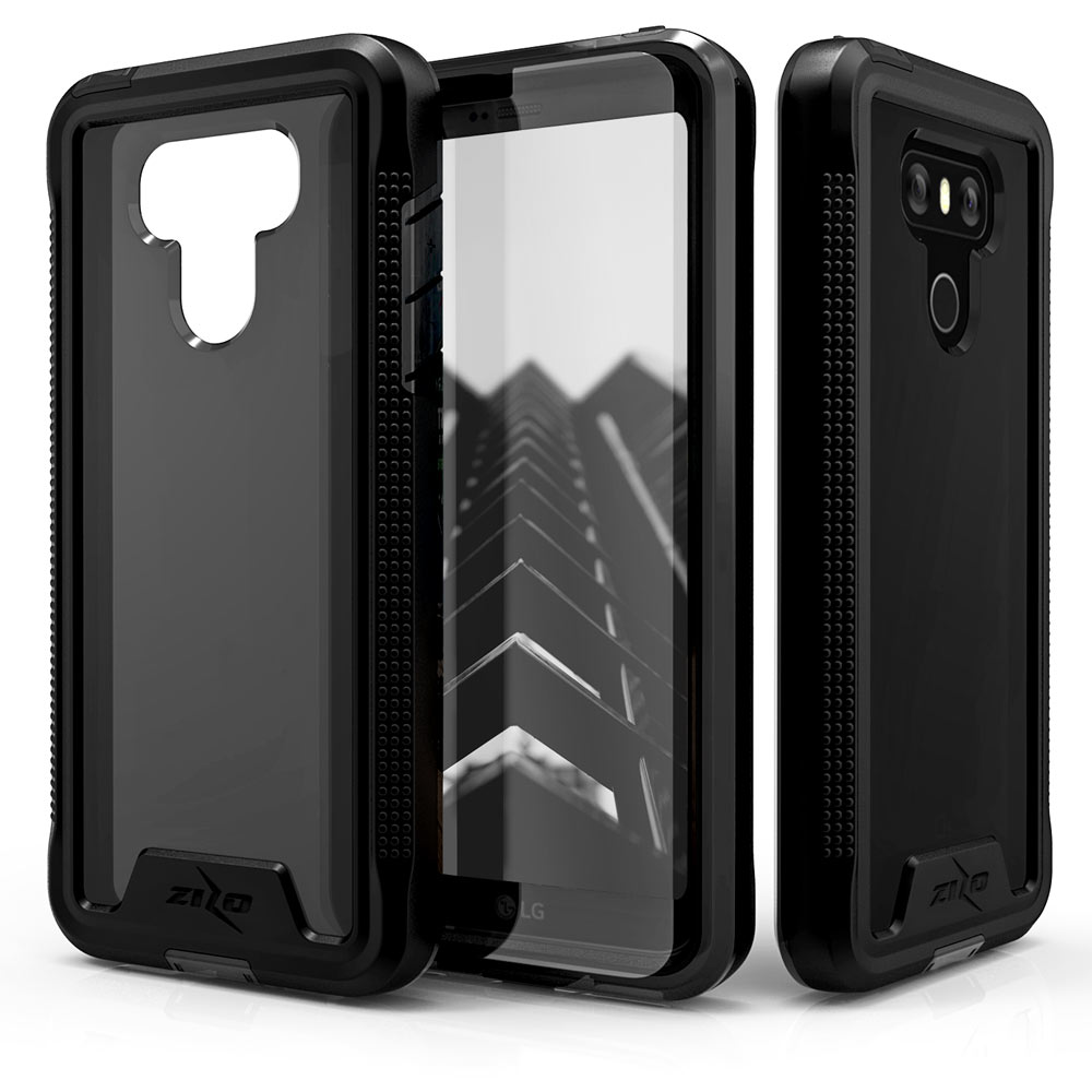 Made for [LG G6]-Ion Series: Triple Layered Shockproof Protection TPU & PC Hybrid Cover w/ Tempered Glass [Black/ Smoke]