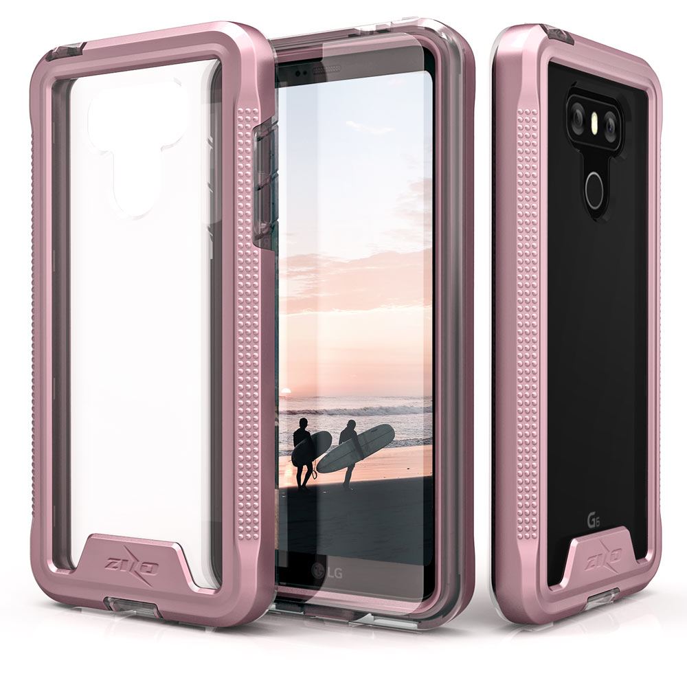 Made for [LG G6]-Ion Series: Triple Layered Shockproof Protection TPU & PC Hybrid Cover w/ Tempered Glass [Rose Gold/ Clear]