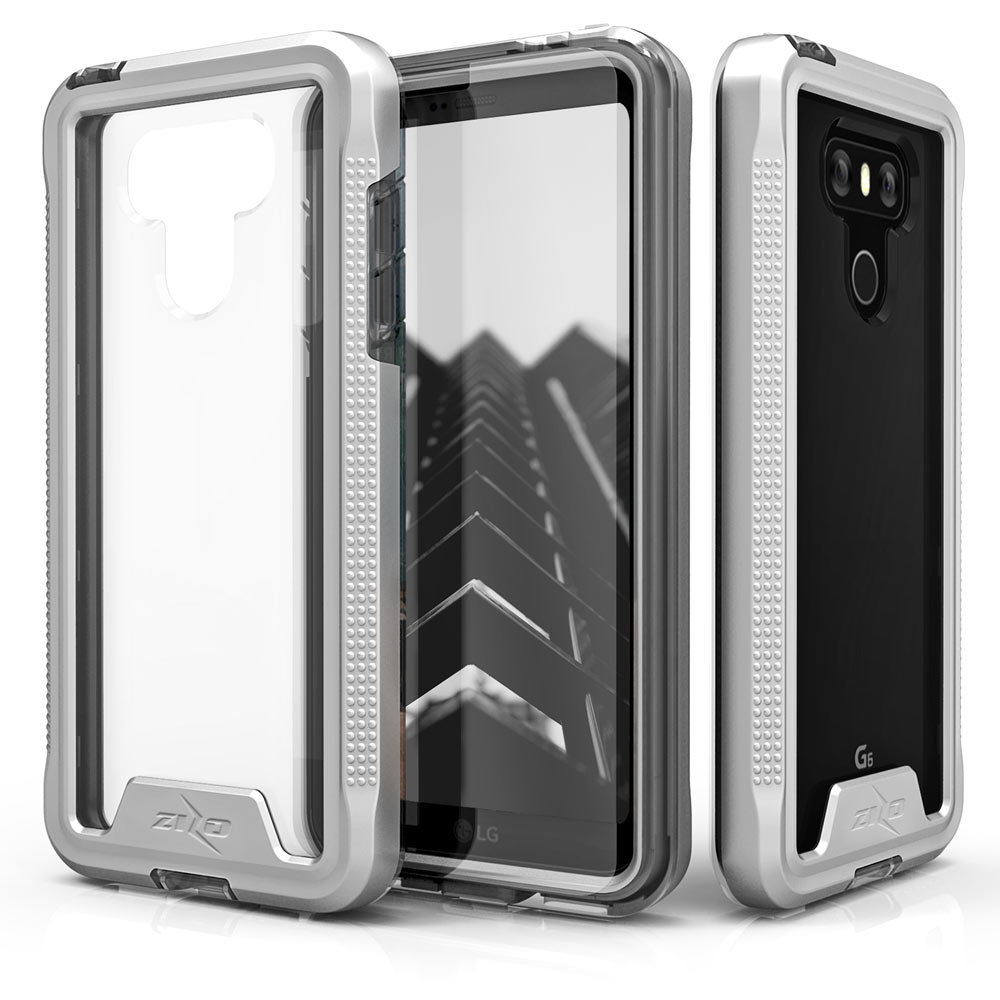 Made for [LG G6]-Ion Series: Triple Layered Shockproof Protection TPU & PC Hybrid Cover w/ Tempered Glass [Silver/ Clear]