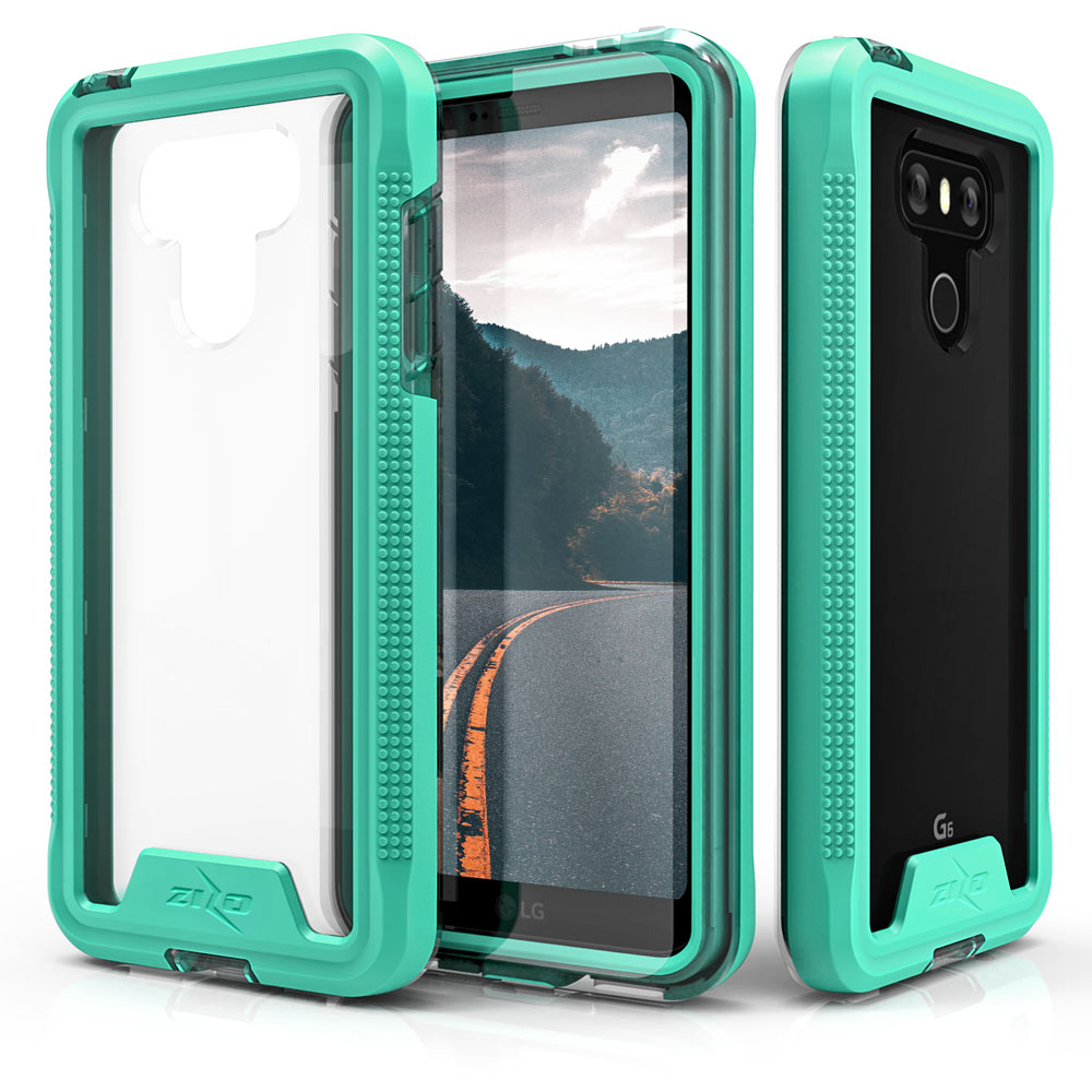 Made for [LG G6]-Ion Series: Triple Layered Shockproof Protection TPU & PC Hybrid Cover w/ Tempered Glass [Mint/ Clear]