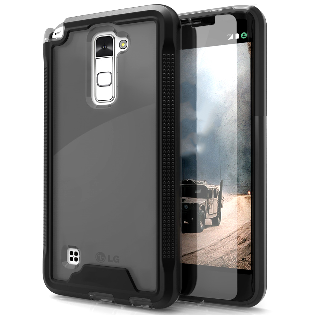 Made for [LG Stylo 2]-Ion Series: Single Layered Shockproof Protection TPU & PC Hybrid Cover w/ Tempered Glass [Black/ Smoke]