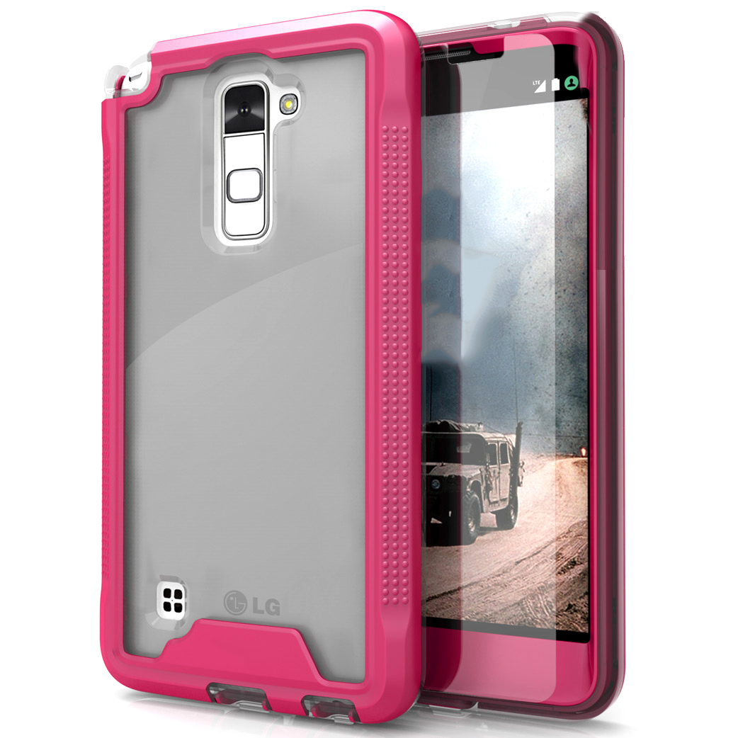 LG Stylo 2 Case, ION Single Layered Shockproof Protection TPU & PC Hybrid Cover w/ Tempered Glass [Hot Pink/ Clear]