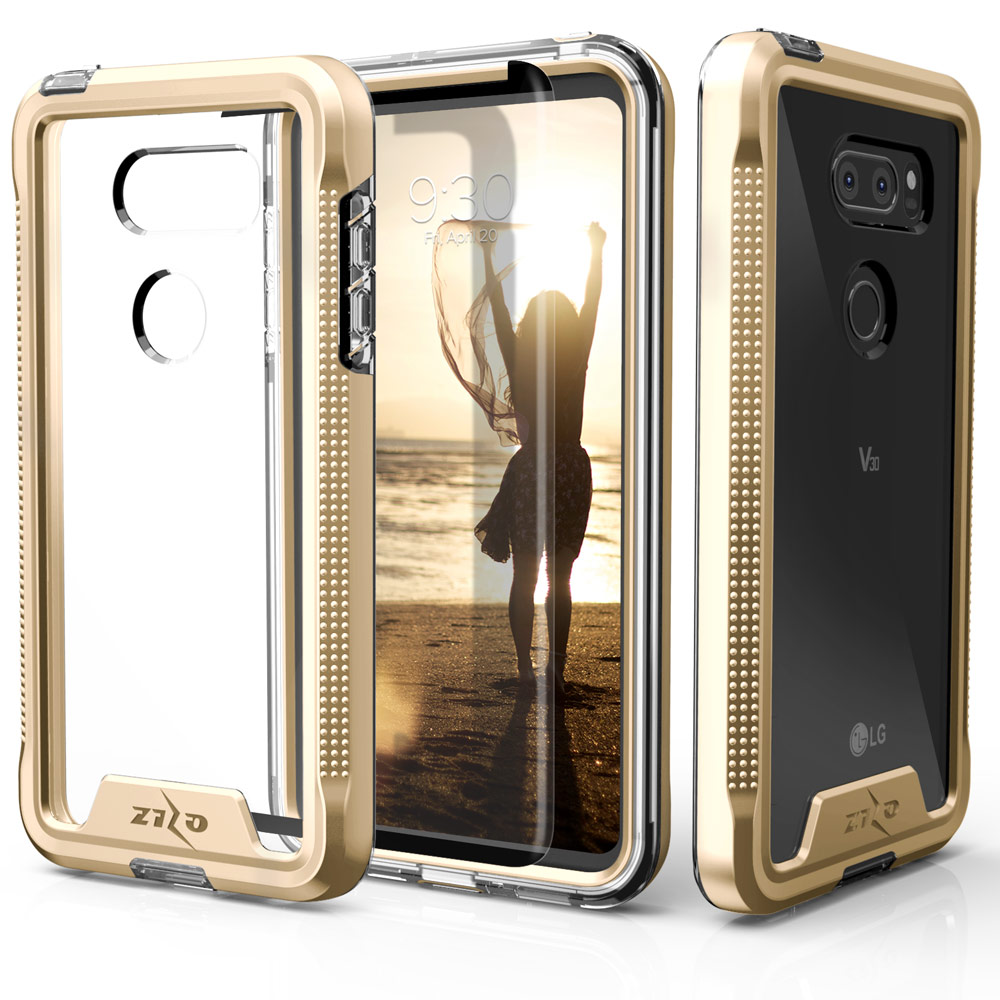 Made for [LG V30]-Ion Series: Triple Layered Shockproof Protection TPU & PC Hybrid Cover w/ Tempered Glass [Gold/ Clear]