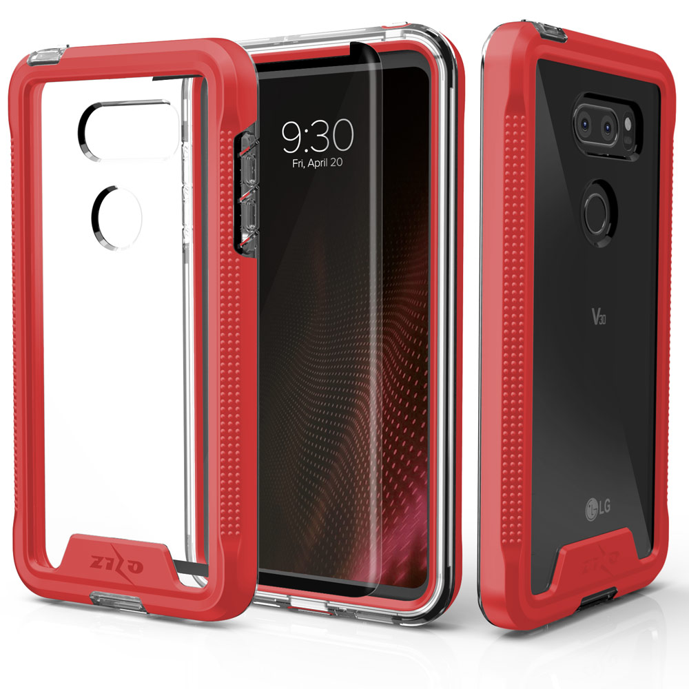 Made for [LG V30]-Ion Series: Triple Layered Shockproof Protection TPU & PC Hybrid Cover w/ Tempered Glass [Red/ Clear]
