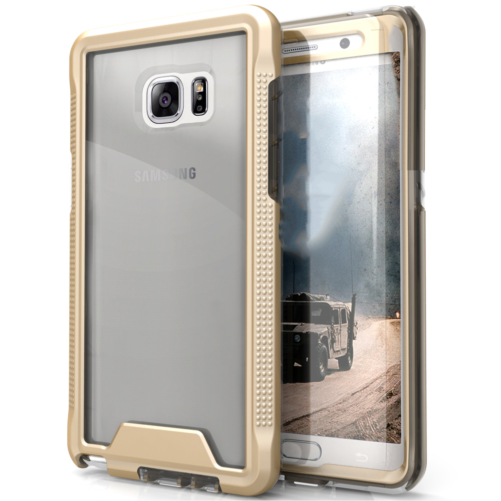 Made for [Samsung Galaxy Note 7]-Ion Series: Single Layered Shockproof Protection TPU & PC Hybrid Cover w/ Tempered Glass [Gold/ Clear]