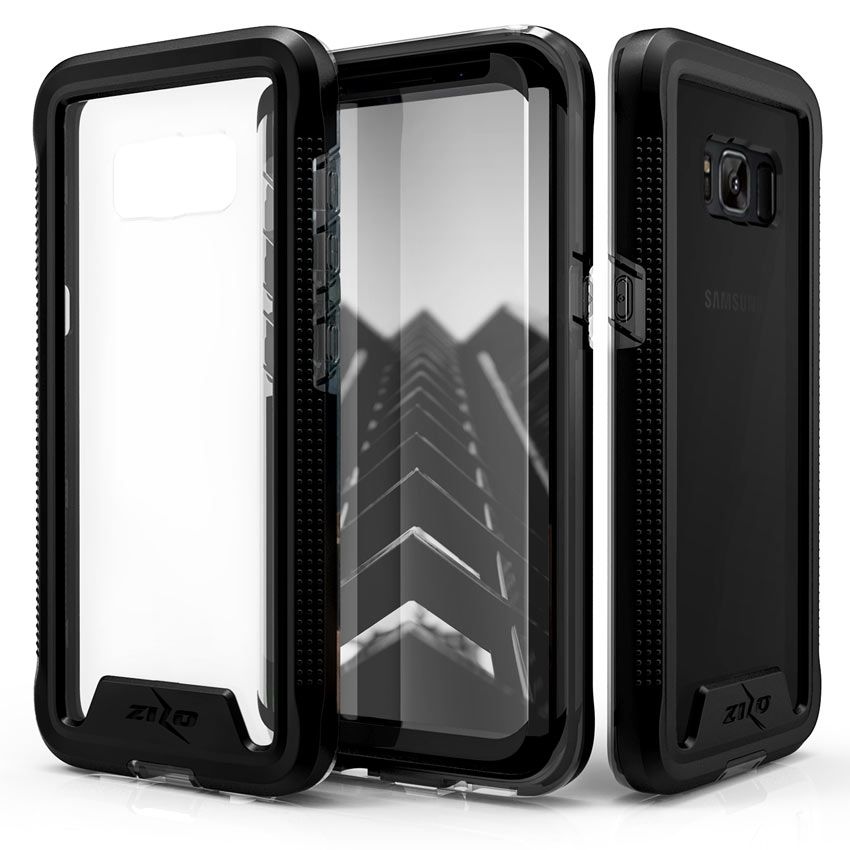 Made for [Samsung Galaxy S8 Plus]-Ion Series: Triple Layered Shockproof Protection TPU & PC Hybrid Cover w/ Tempered Glass [Black/ Smoke]