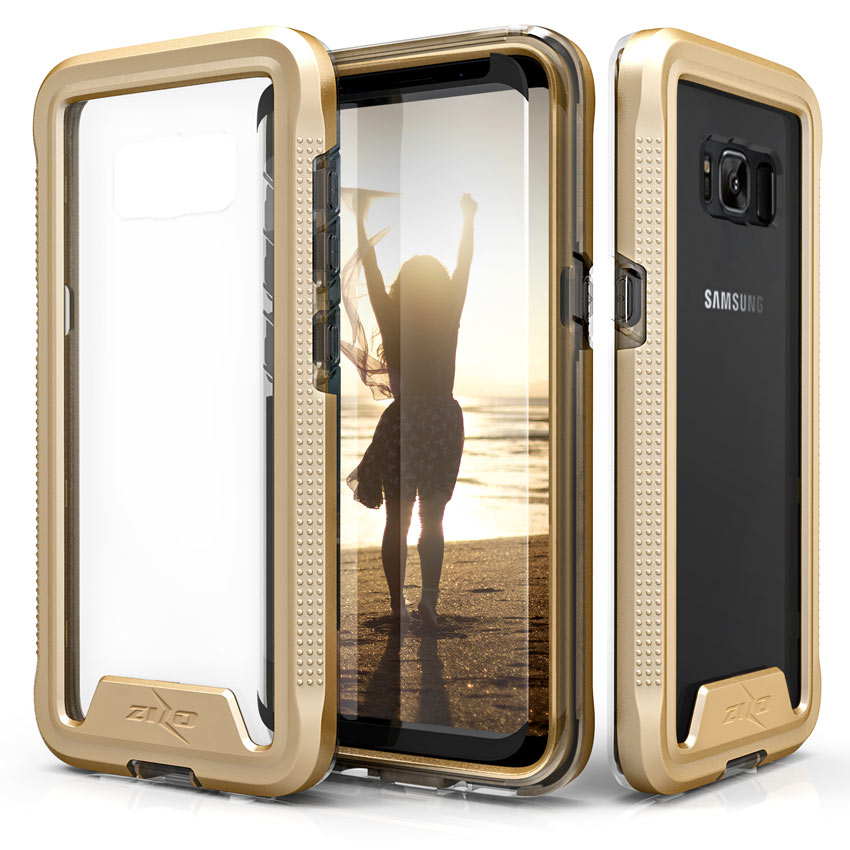 Made for [Samsung Galaxy S8 Plus]-Ion Series: Triple Layered Shockproof Protection TPU & PC Hybrid Cover w/ Tempered Glass [Gold/ Clear]