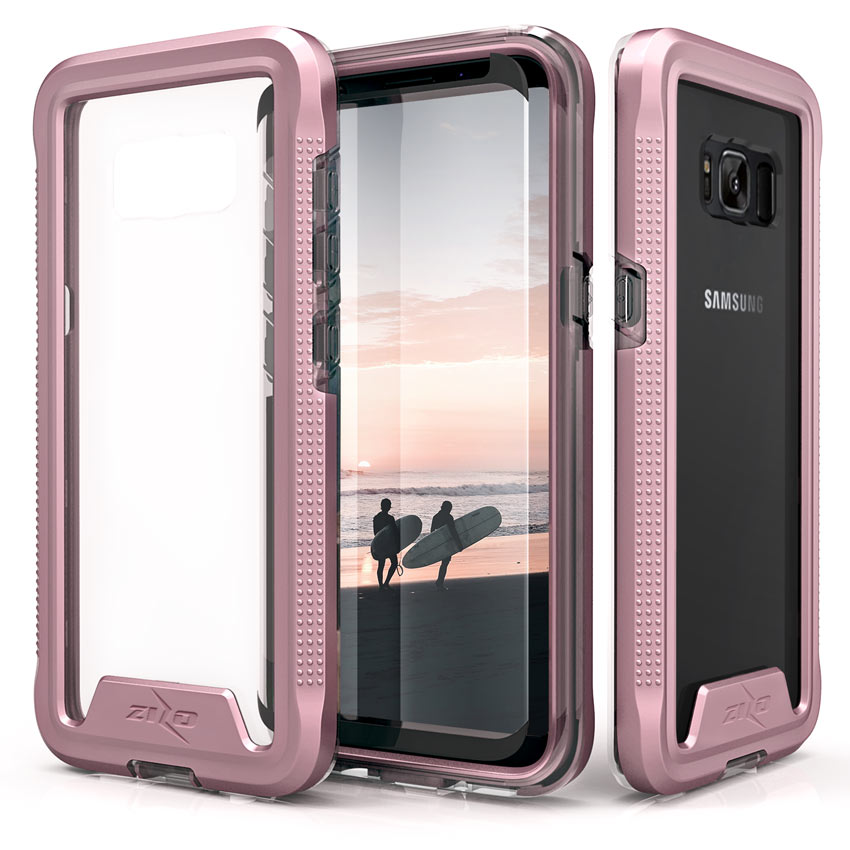 Made for [Samsung Galaxy S8 Plus]-Ion Series: Triple Layered Shockproof Protection TPU & PC Hybrid Cover w/ Tempered Glass [Rose Gold/ Clear]