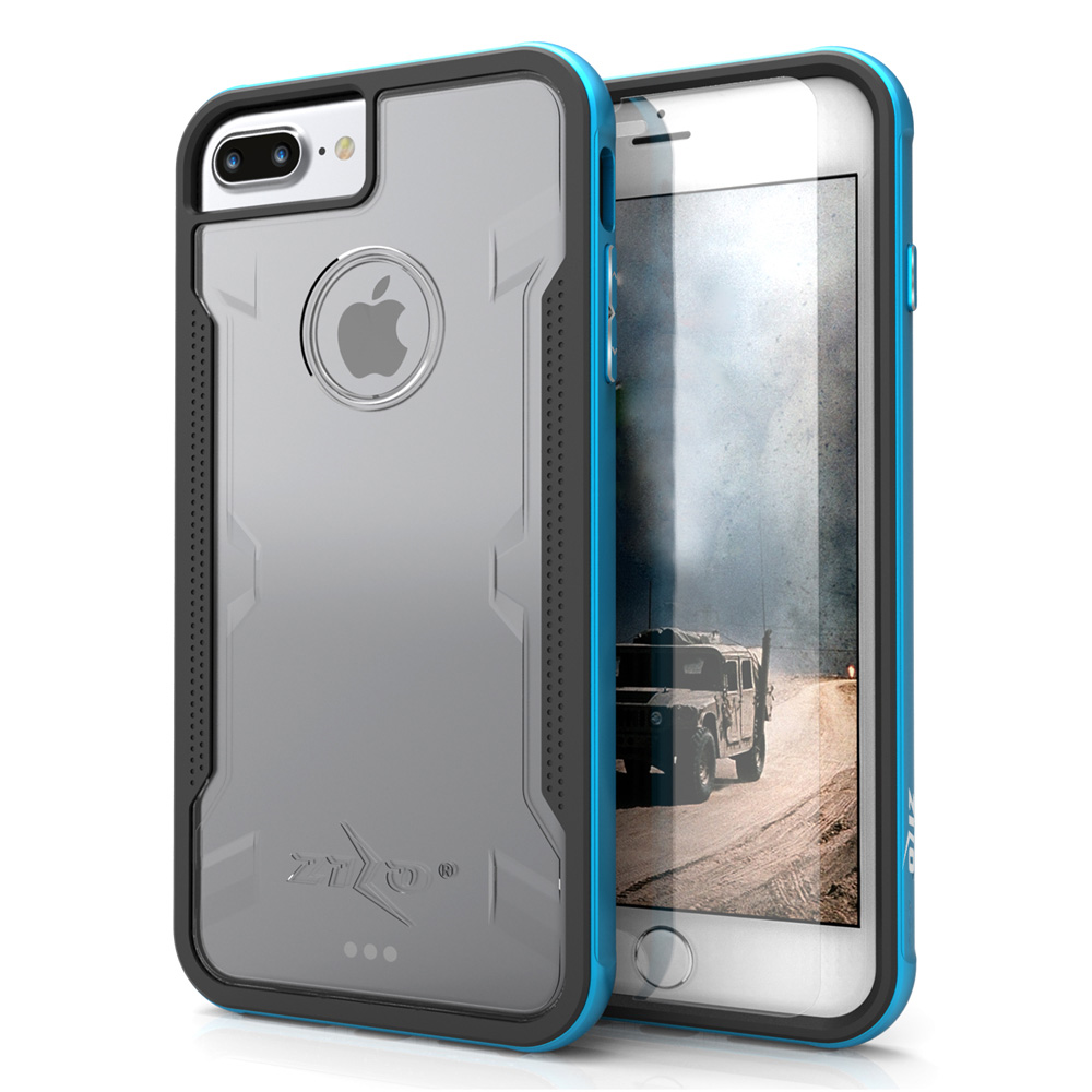 Made for [Apple iPhone 7 Plus (5.5 inch)]-Shock Series: Aluminum Metal Bumper [Crystal Clear] Hybrid Case w/ Reinforced Edges [Blue]
