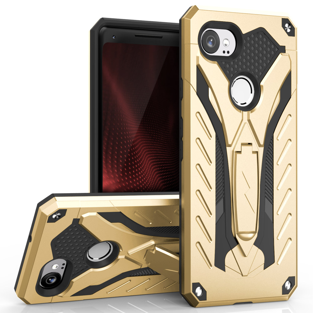 Made for [Google Pixel XL 2]-Static Series: Dual Layer Hard Case TPU Hybrid [Military Grade] w/ Kickstand & Shock Absorption [Gold/ Black]