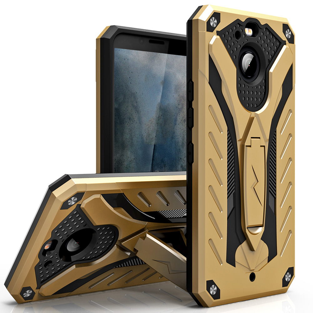 Made for [HTC Bolt]-Static Series: Dual Layer Hard Case TPU Hybrid [Military Grade] w/ Kickstand & Shock Absorption [Gold/ Black]