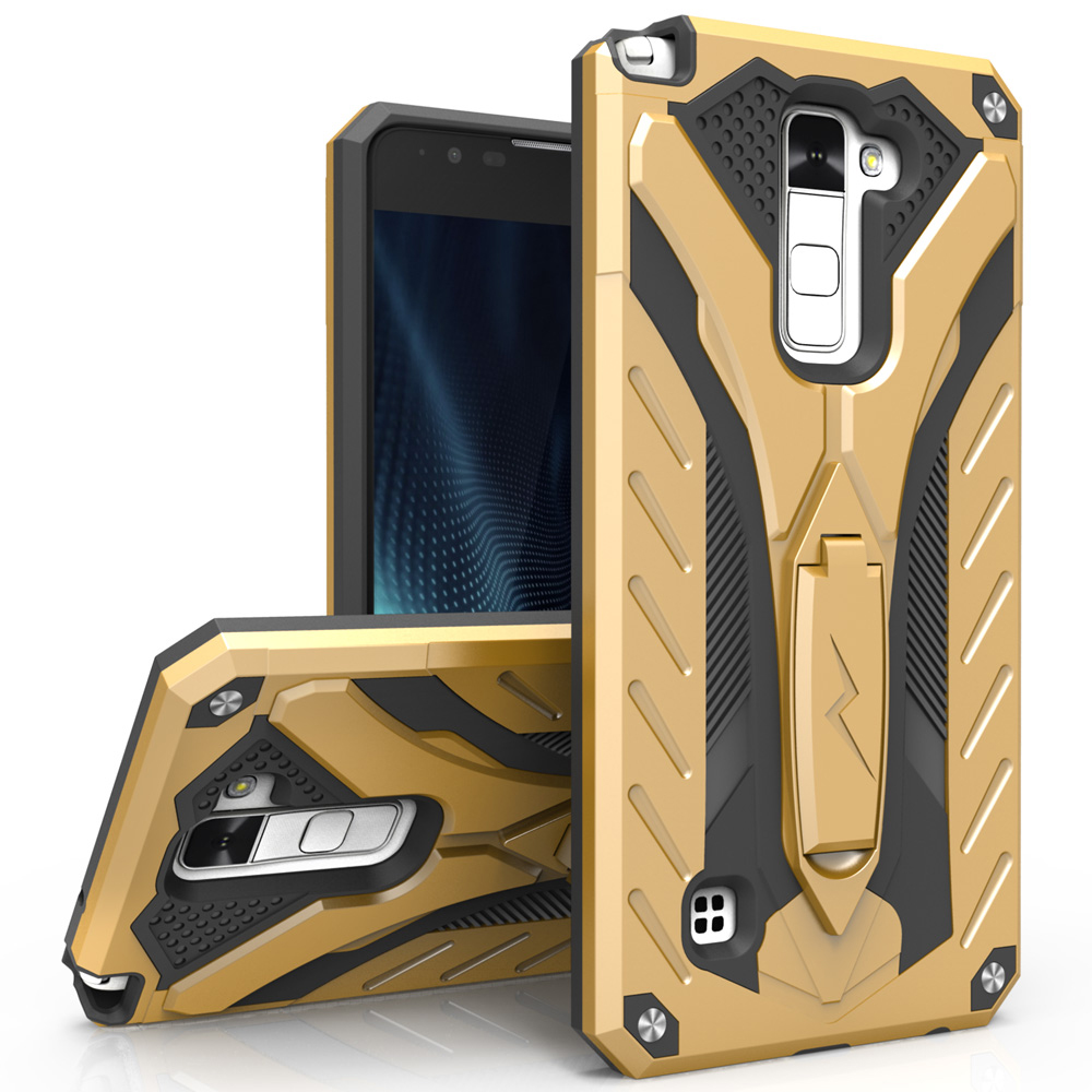 Made for [LG Stylo 2 Plus]-Static Series:  Dual Layer Hard Case TPU Hybrid [Military Grade] w/ Kickstand & Shock Absorption [Gold/ Black]