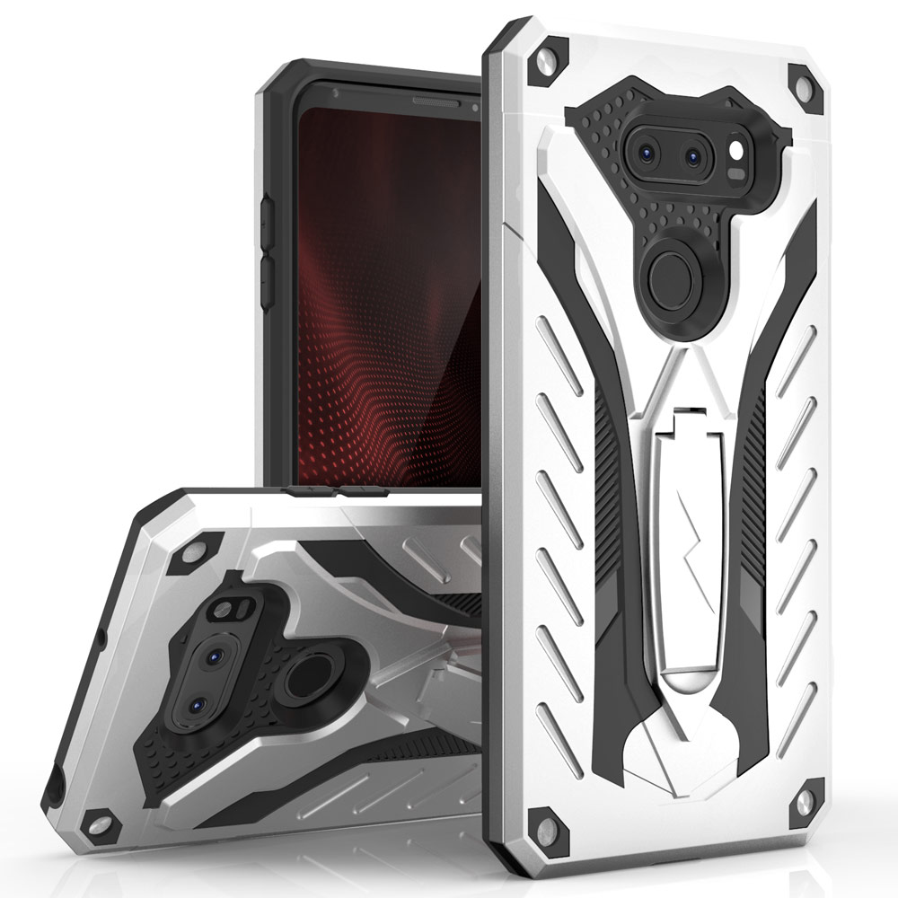Made for [LG V30 Hybrid]-Static Series:  [Silver/ Black] Dual Layer Hard Case TPU Hybrid [Military Grade] w/ Kickstand & Shock Absorption