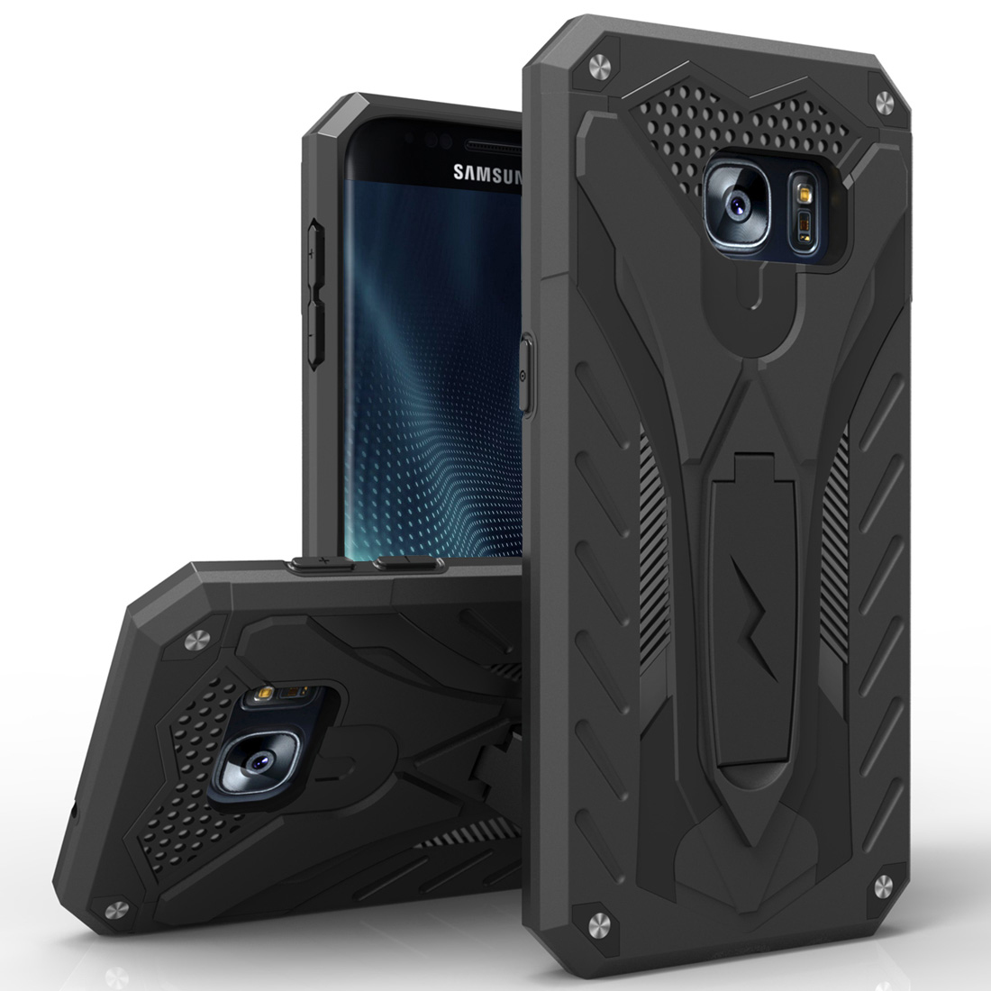 Made for [Samsung Galaxy S7 Edge]-Static Series:  Dual Layer Hard Case TPU Hybrid [Military Grade] w/ Kickstand & Shock Absorption [Black]