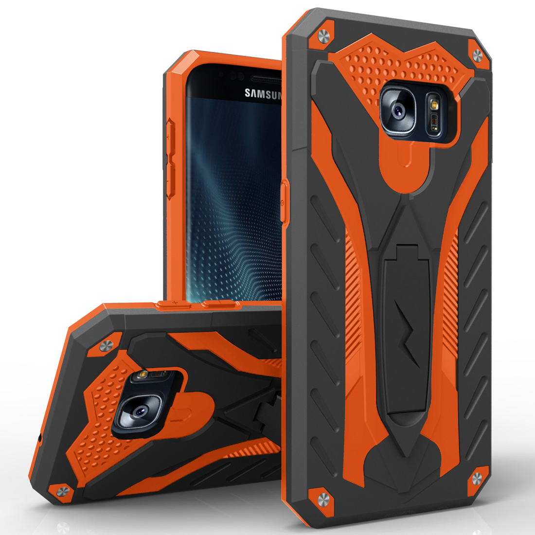 Samsung Galaxy S7 Edge Case, STATIC Dual Layer Hard Case TPU Hybrid [Military Grade] w/ Kickstand & Shock Absorption [Black/ Orange]