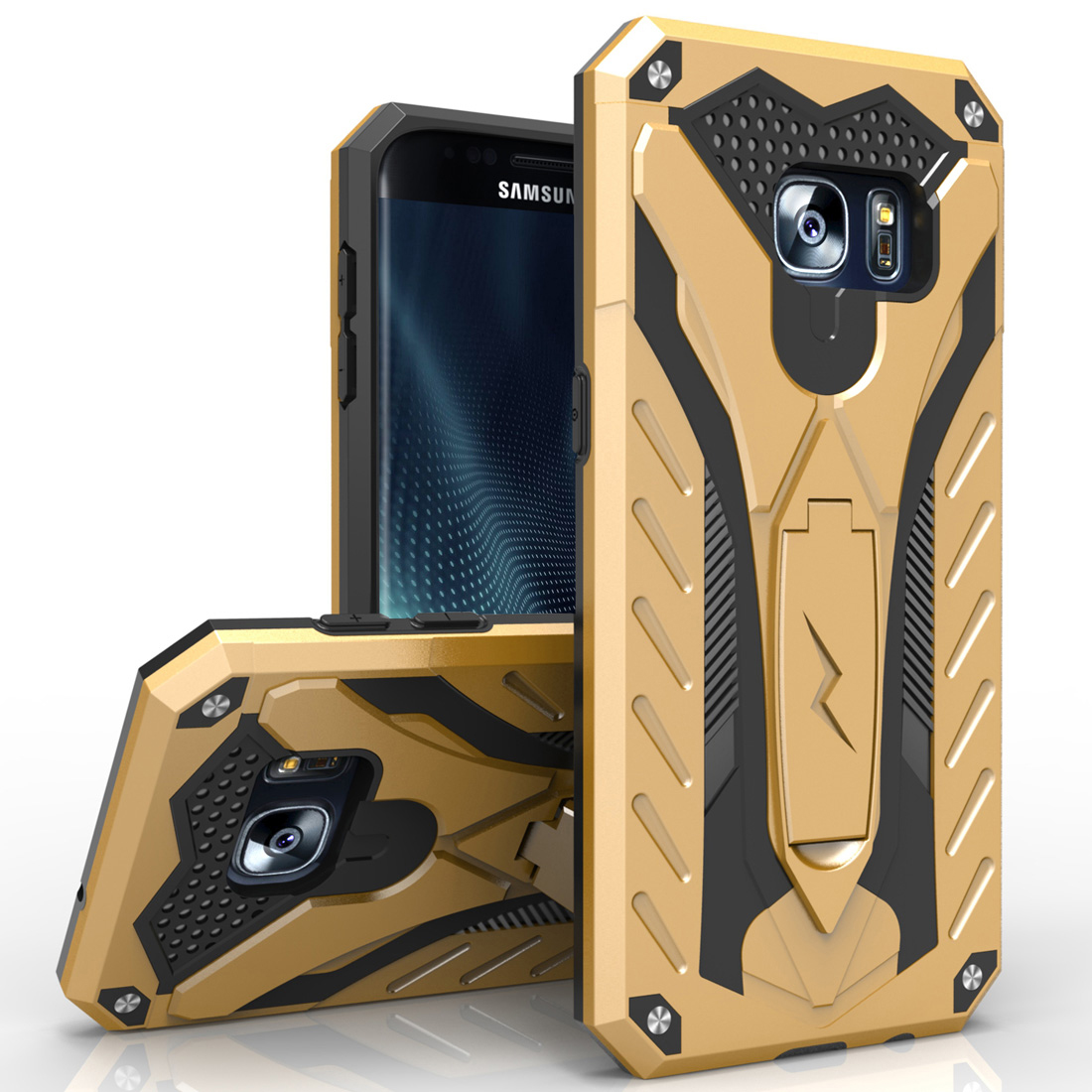 Samsung Galaxy S7 Edge Case, STATIC Dual Layer Hard Case TPU Hybrid [Military Grade] w/ Kickstand & Shock Absorption [Gold/ Black]