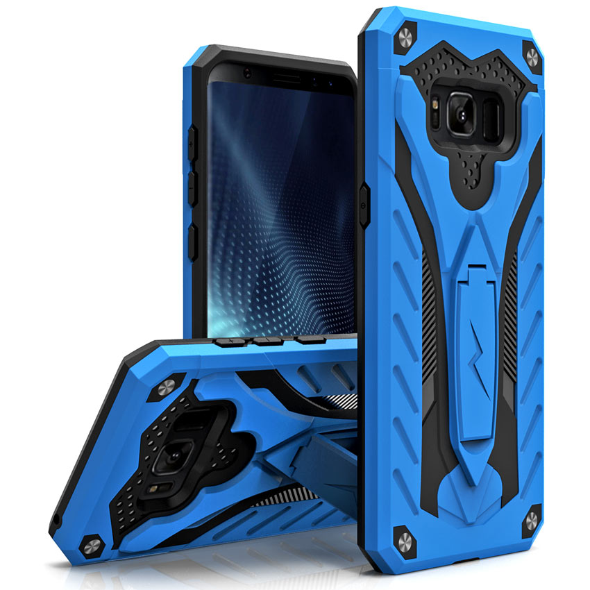 Made for [Samsung Galaxy S8 Active]-Static Series:  Dual Layer Hard Case TPU Hybrid [Military Grade] w/ Kickstand & Shock Absorption [Blue/ Black]