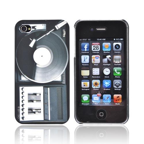 Original DCI AT&T/ Verizon iPhone 4, iPhone 4S Flash Rubberized Hard Case, 30406 - Black/ White Retro Turntable