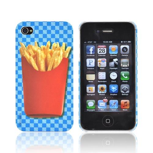 Original DCI AT&T/ Verizon iPhone 4, iPhone 4S Flash Rubberized Hard Case, 30437 - French Fries on Blue Checkers