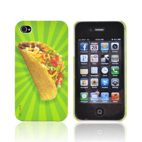 Original DCI AT&T/ Verizon iPhone 4, iPhone 4S Flash Rubberized Hard Case, 30482 - Taco on Green Stripes