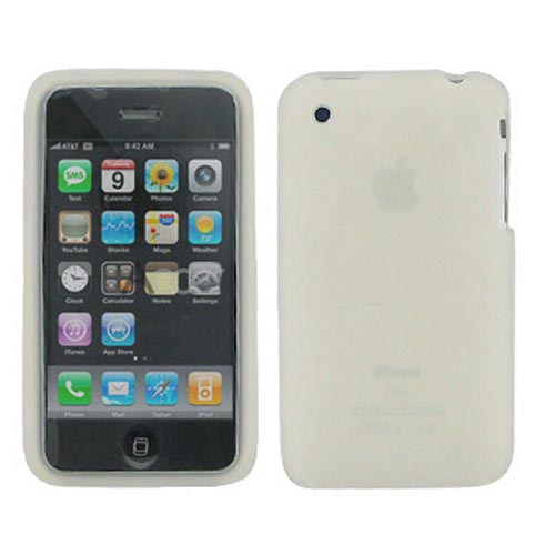 Premium Apple iPhone 3G Silicone Case, Rubber Skin - Frost White