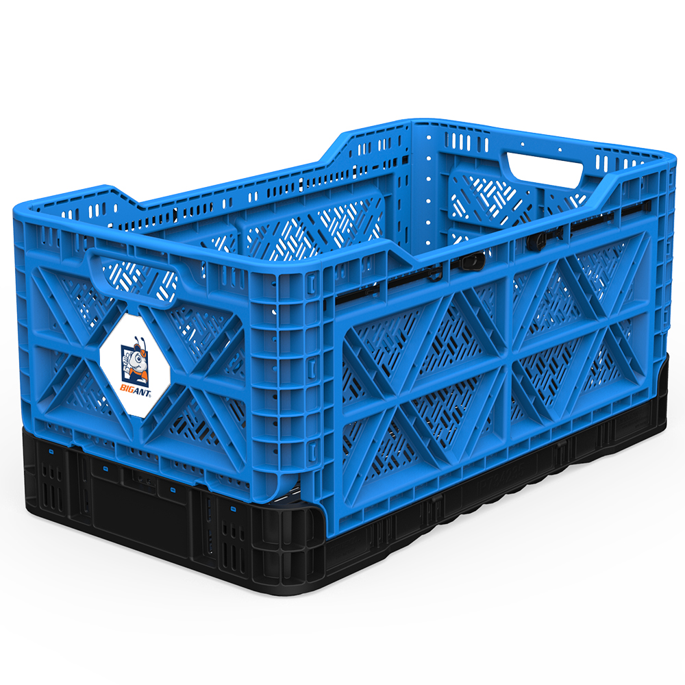 [BIGANT] Heavy Duty Collapsible & Stackable Plastic Milk Crate [Large Size/ 23.8 Gallons] - Blue