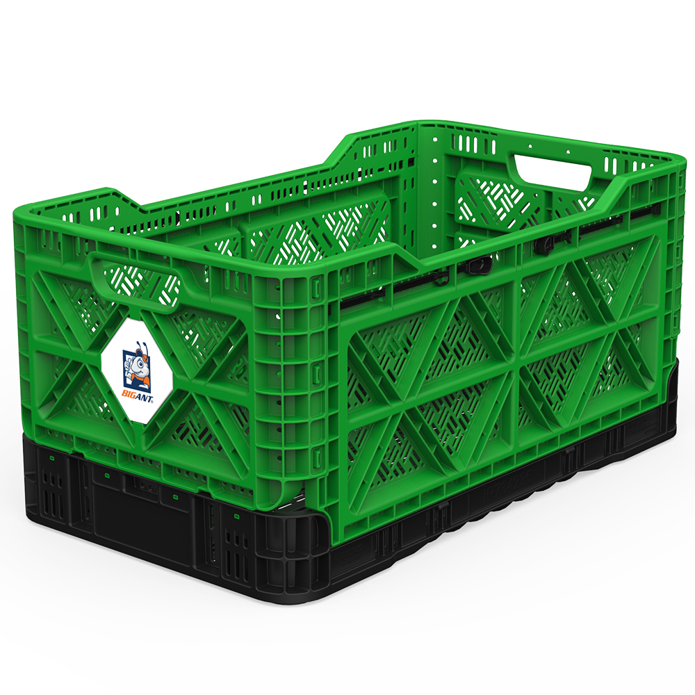 [BIGANT] Heavy Duty Collapsible & Stackable Plastic Milk Crate [Large Size/ 23.8 Gallons] - Green
