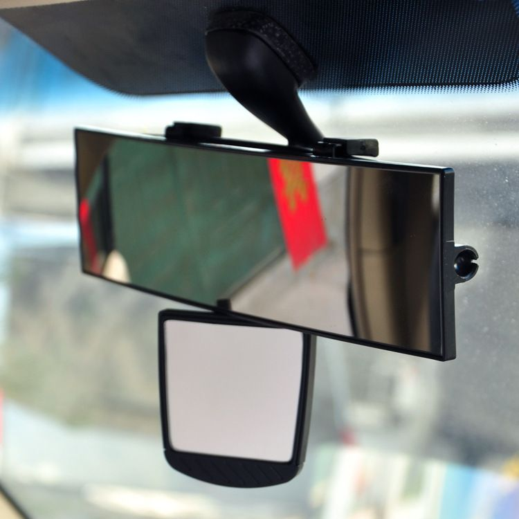 "Auto Rear View Clip On Mirror 11"" x 2.75"" w/ Auxiliary Mirror 2.75"" x 2.5"" [Can be Installed Left, Right, or Under], Universal, Extra Wide and Easy to Install on All Cars & Trucks"