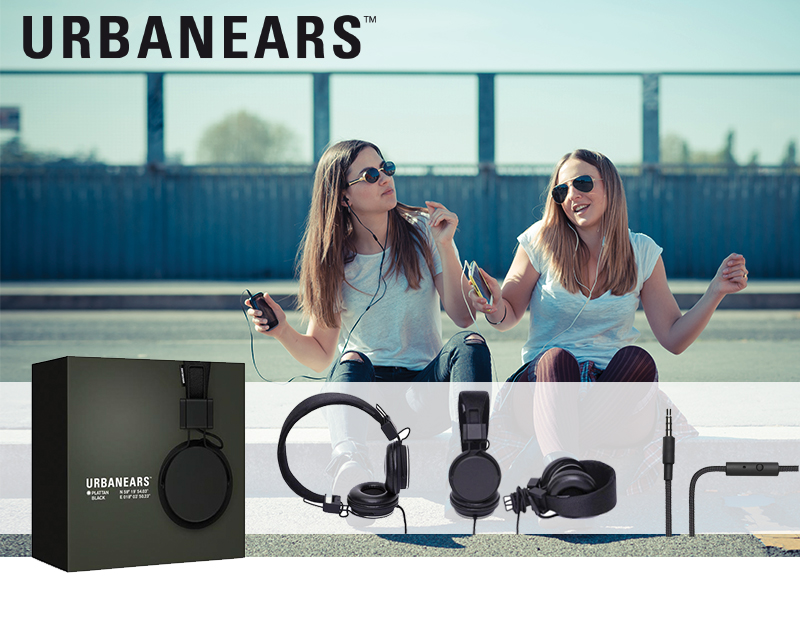 Original Urbanears Plattan Over Ear Collapsible Headphones w/ Mic/ Remote/ Fabric Cord, 4090058 - Black (3.5mm)