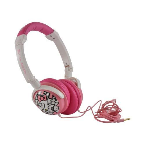 Officially Licensed Sanrio Pink/ White Bows Hello Kitty Stereo Headphones w/ Microphone