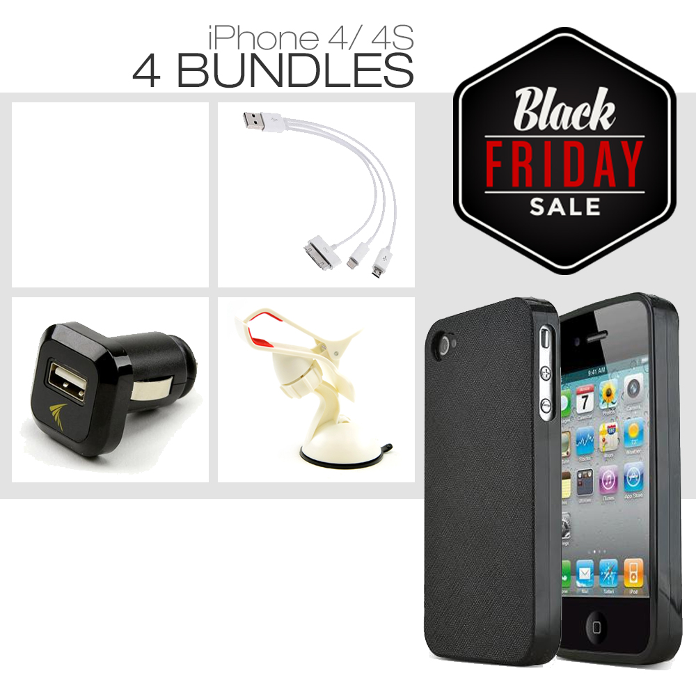 [iPhone 4S/ iPhone 4][4 Essential Package] TPU Case + Car Charger + Suction Car Mount + 3-in-1 Data Cable