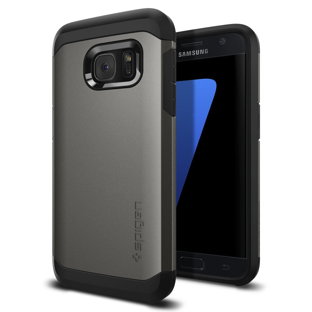 Samsung Galaxy S7 Case, Spigen [Tough Armor] HEAVY DUTY Extreme Protection / Rugged but Slim Dual Layer Protective Case [Gunmetal]