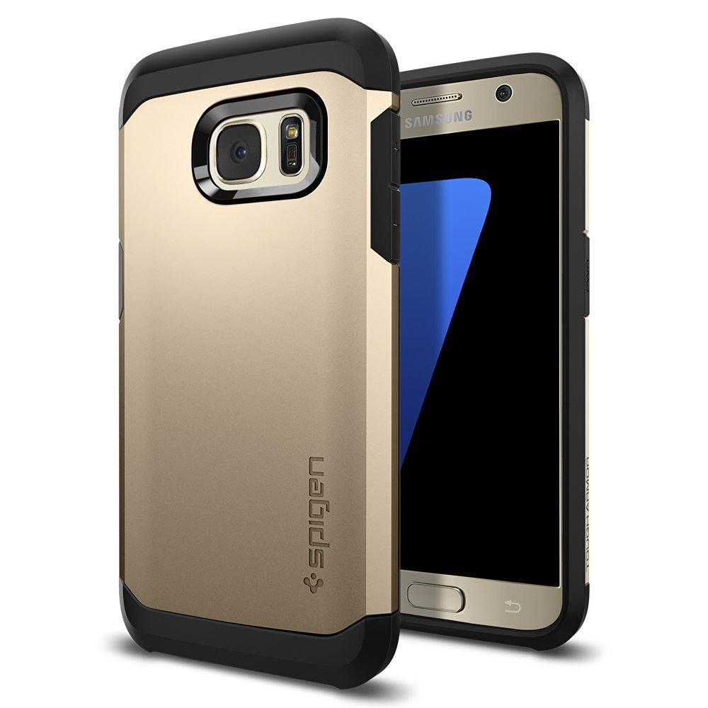 Samsung Galaxy S7 Case, Spigen [Tough Armor] HEAVY DUTY Extreme Protection / Rugged but Slim Dual Layer Protective Case [Champagne Gold]