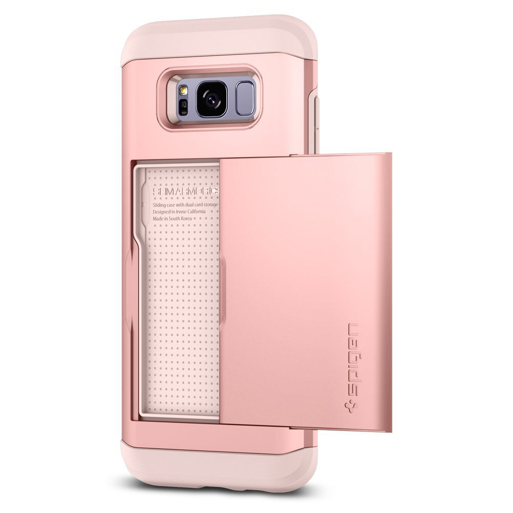 Samsung Galaxy S8 Slim Case, [Spigen] Slim Armor CS Case W/ Slim Dual Layer Wallet Design and Card Slot Holder [Rose Gold]