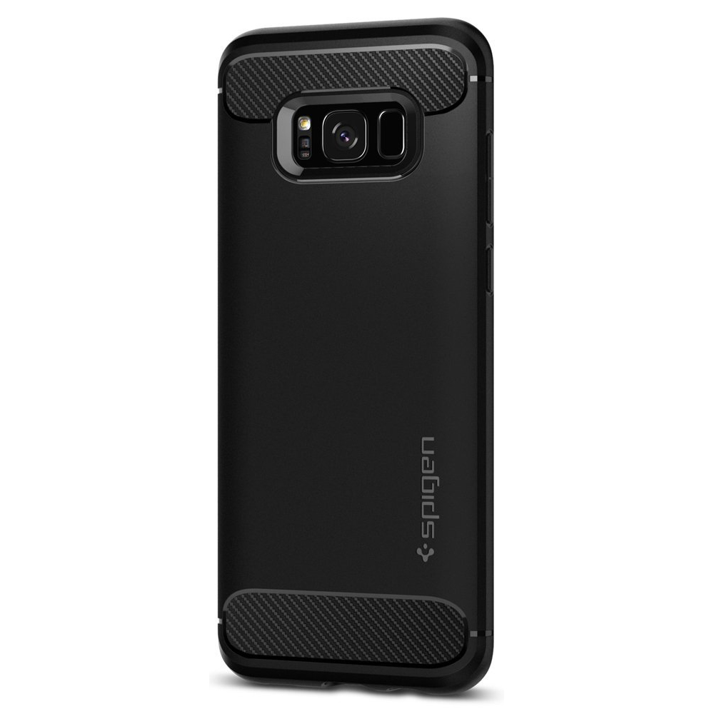 Samsung Galaxy S8 Plus Case, [Spigen] Rugged Armor Case w/ Resilient Shock Absorption and Carbon Fiber Design [Black]