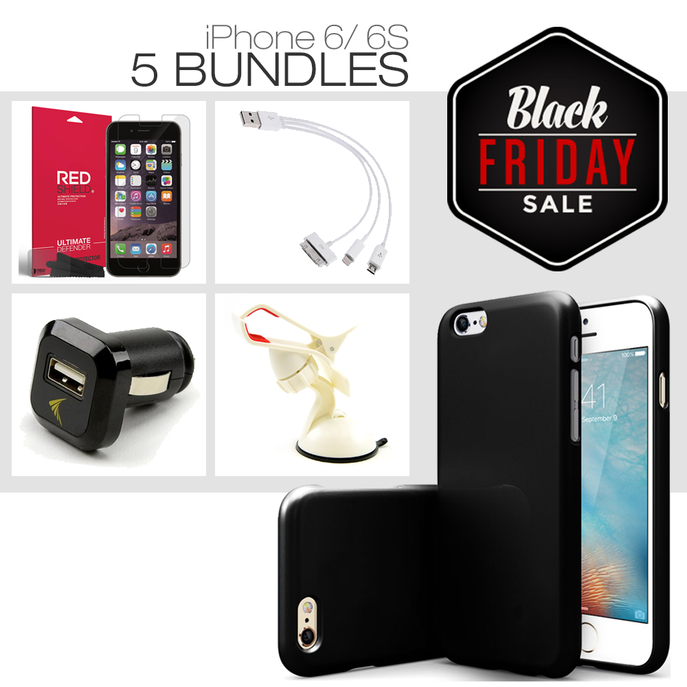 [iPhone 6S/ iPhone 6][5 Essential Package] TPU Case + Screen Protector + Car Charger + Suction Car Mount + 3-in-1 Data Cable