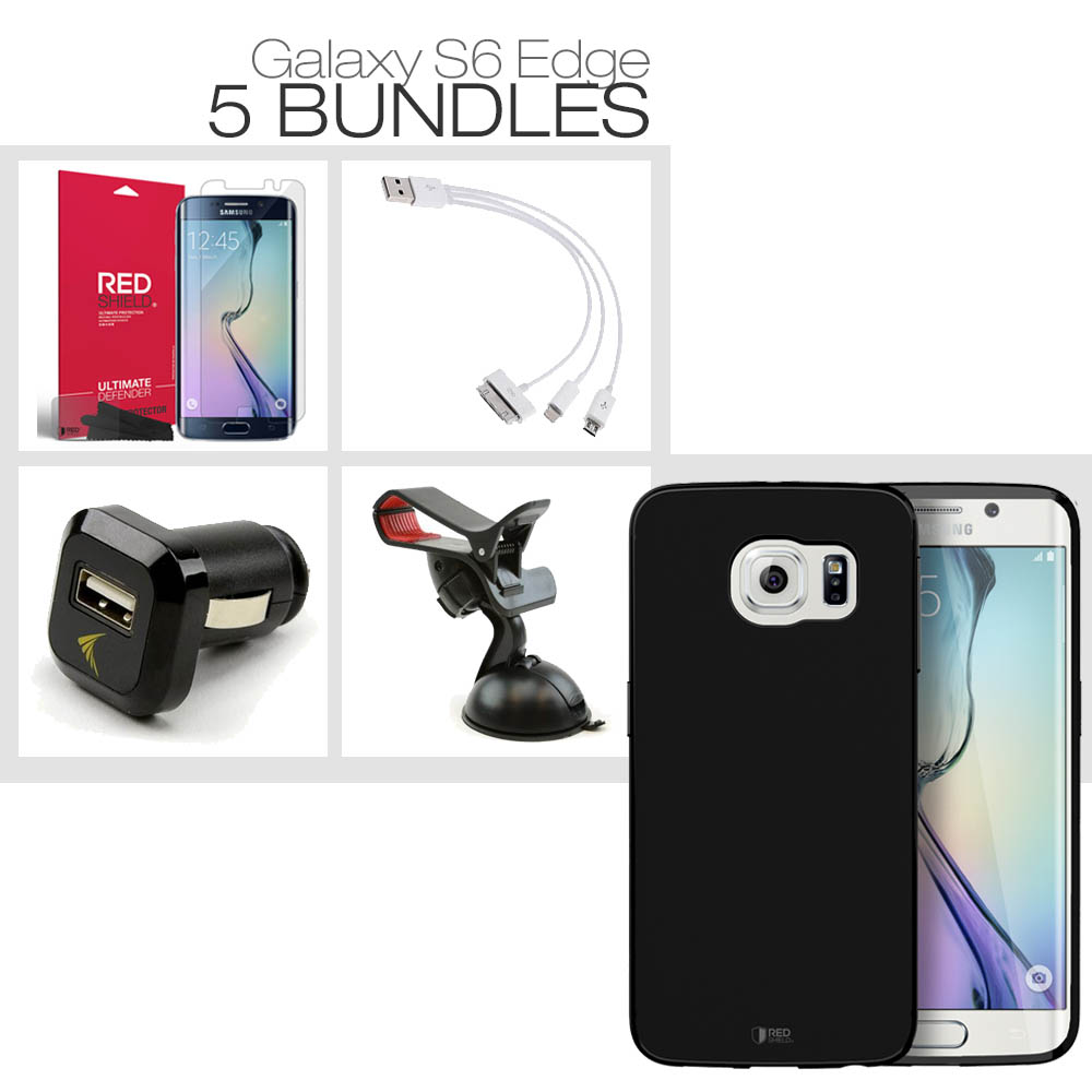 [Galaxy S6 Edge][5 Essential Package] TPU Case + Screen Protector + Car Charger + Suction Car Mount + 3-in-1 Data Cable